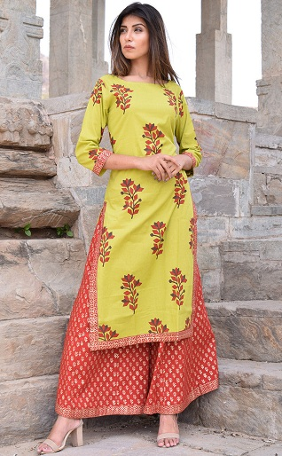 f3aa6612a1 Try this elegant looking light green and red block printed Salwar kameez to  steal the show! The top comes in a boat neck pattern with beautiful floral  ...