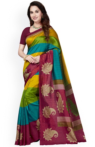 7be73953fc32b4 This Multi-colored silk saree with gold, green, blue and maroon stripes  make it a unique piece. The border is adorned with mango motifs ...