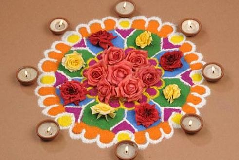 new floral rangoli design for home