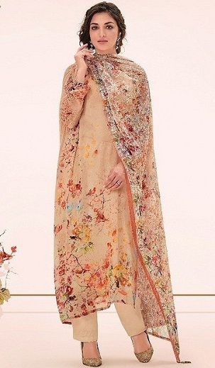 9933fd1d8f This cream coloured georgette printed salwar kameez is designed with an  abstract pattern all over the body. The multi-coloured dress is extremely  ...
