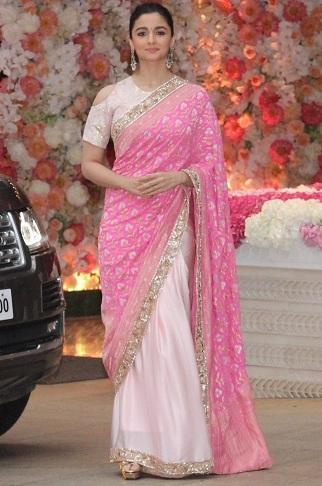 Alia Bhatt in Pink Saree
