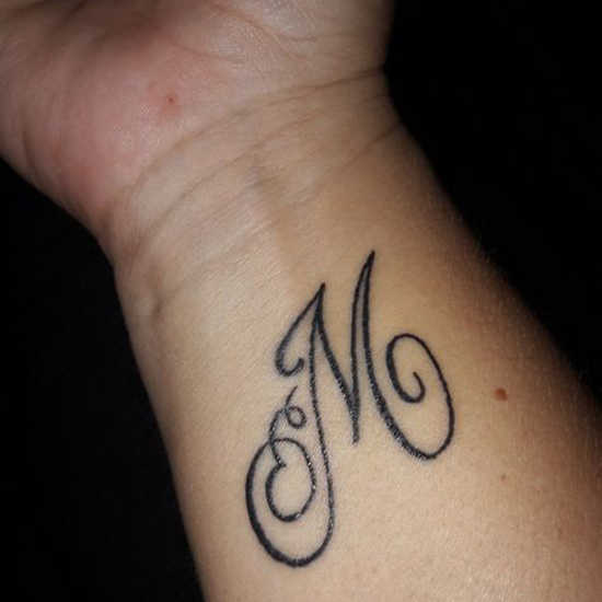 M Letter Tattoo Designs On Hand