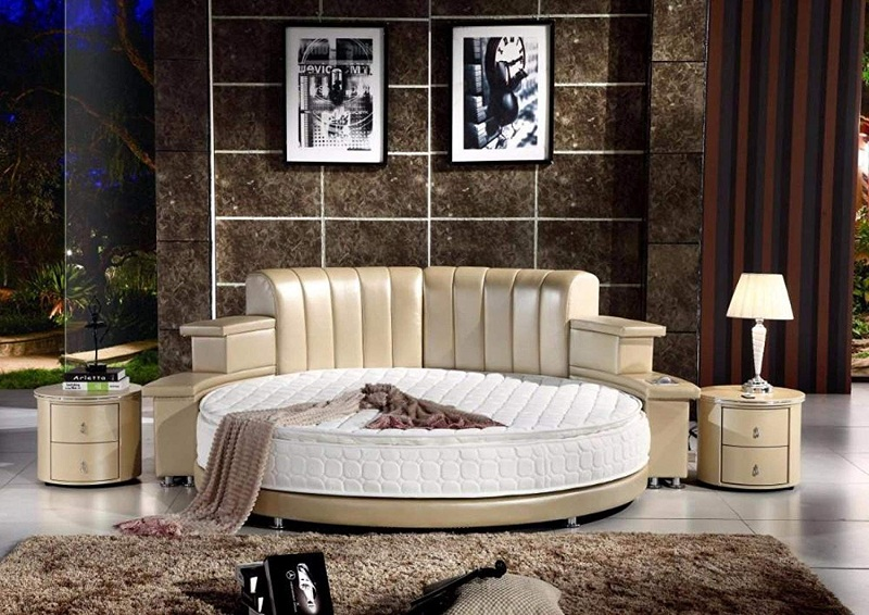 Round Leather Bed with Speakers