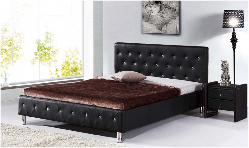 Queen Tufted Leather Bed
