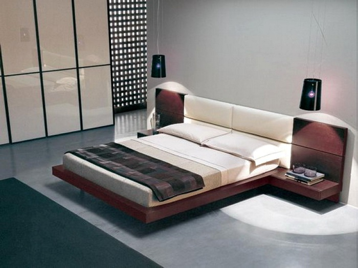 Upholstered White Leather Bed