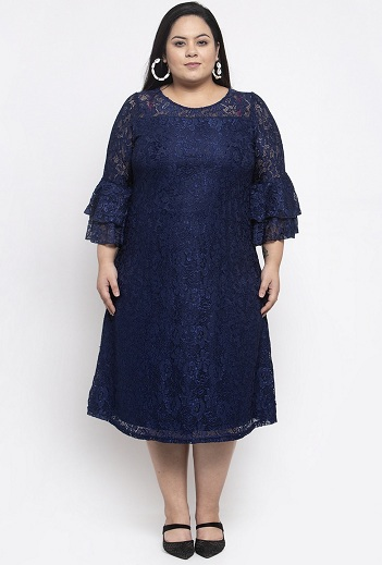 Plus Size A Line Dress With Bell Sleeves