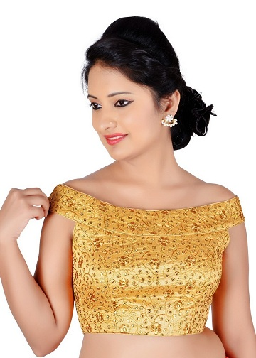 b6f0a75ec7b This yellow embroidered off shoulder blouse is ideal for those who like to  keep it neat and elegant. The base blouse is a strapless model, ...