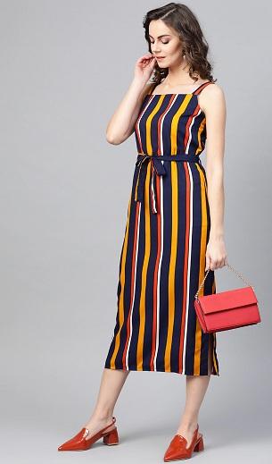 Striped A Line Midi Dress
