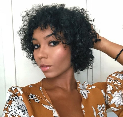 Black Curly Short Hairstyle