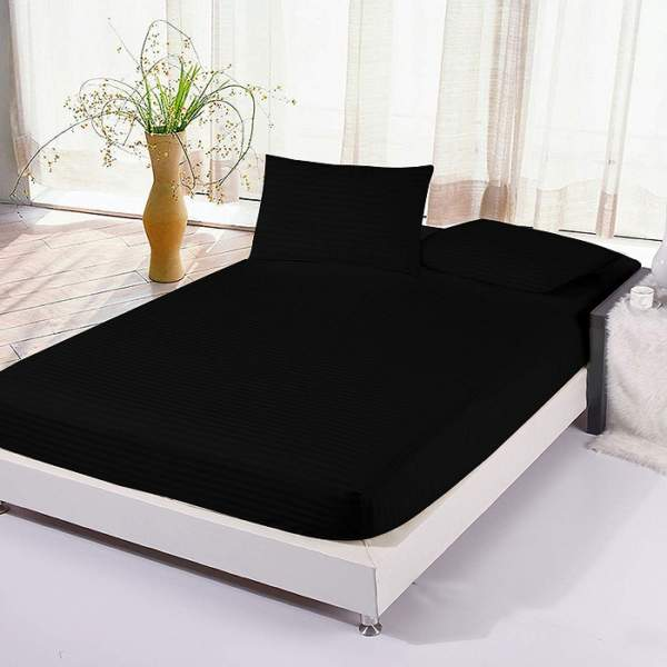 black fitted bed sheet