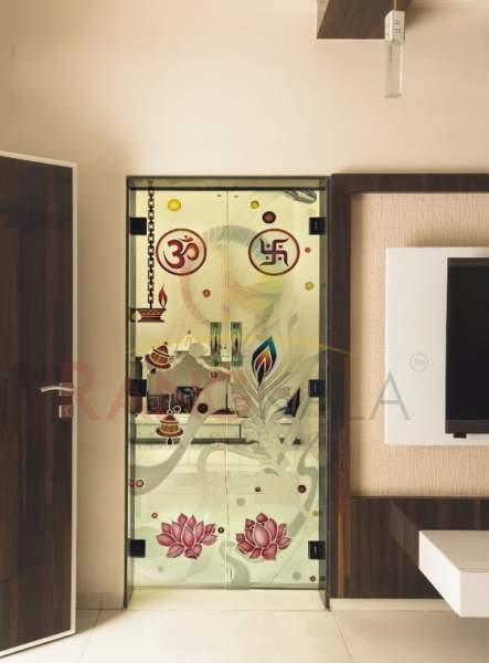 puja room glass door designs