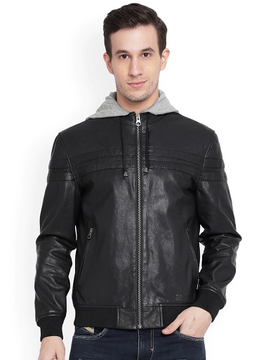 Justanned Black Leather Jacket With Hood