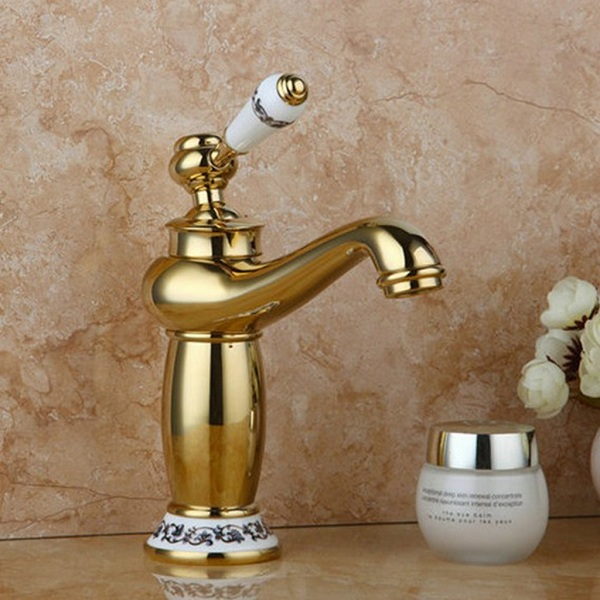 gold coloured taps