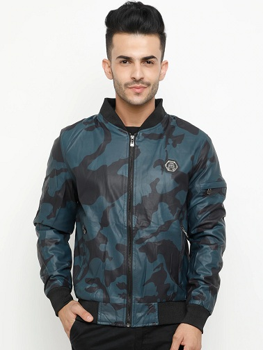 Showoff Blue Leather Solid Jacket With Print
