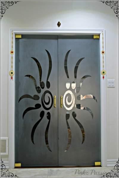 pooja room glass door designs images