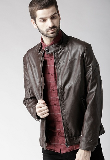 Tommy Hilfiger Branded Leather Brown Jacket