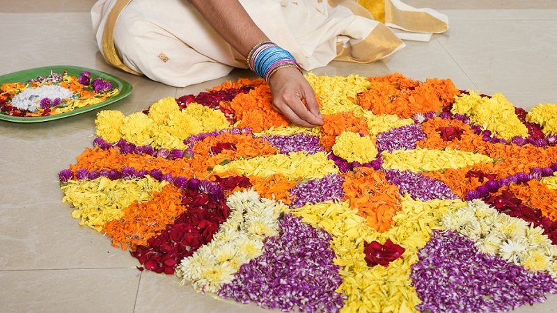 20 Best Floral Rangoli Designs By Using Flowers Chalk Flour
