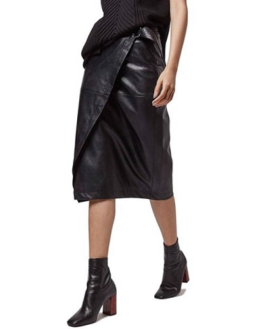 a4c48c4142 No fabric can bring in bold and wild style like leather on several  occasions. This is a leather wrap skirt. While this is quite new in fashion  and ...