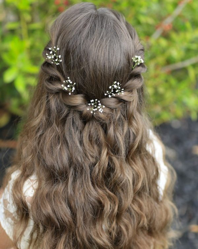 Braided Pin with Flowers