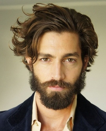 Side Messy Hairstyle for Men with Beard