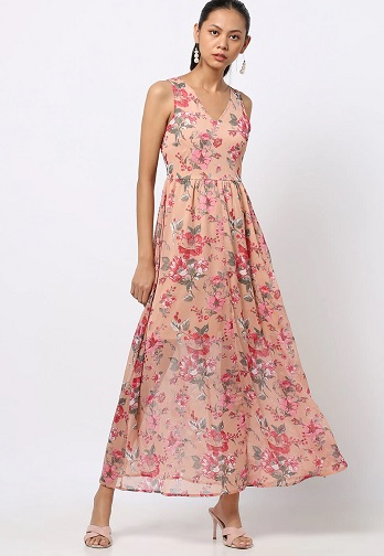 Floral V Neck Maxi Dress