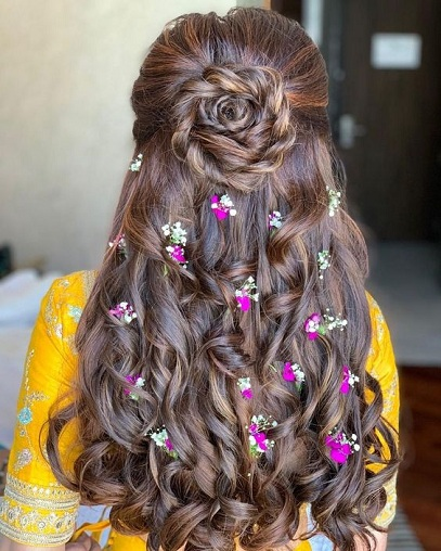 Flower Bun with Leave Over Hair