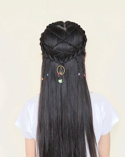 Straight Braided Style for Long Hair