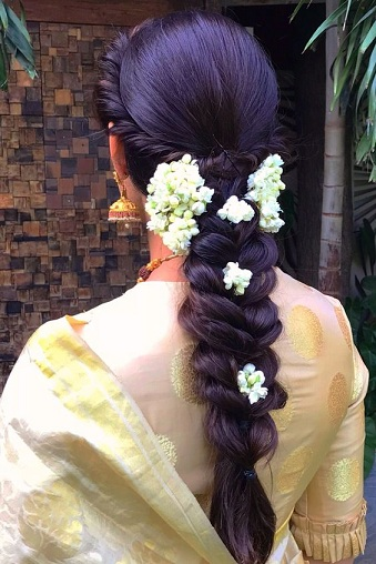 Traditional Braided Style with Flowers