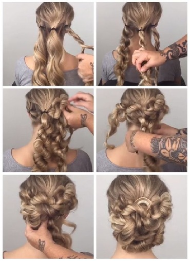 Twisted Bun Style for Curly Hair
