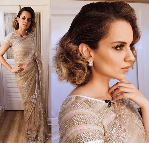 Wavy Hairstyle for Short Hair for Saree