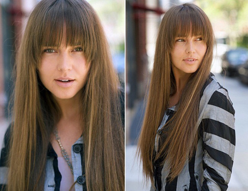Bangs Style With Straight Hair Woman