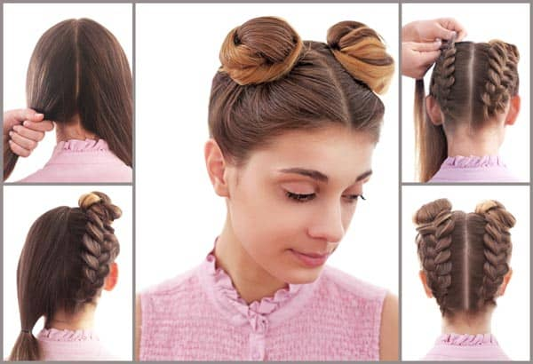 Braided Up Bun Long Hairstyles for Women