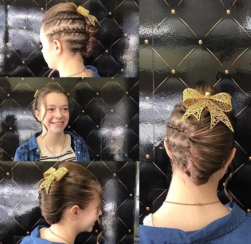 Cute Braided Hairdo With A Bow