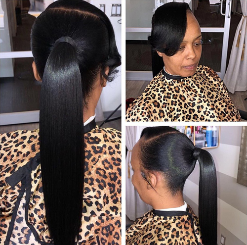Long Pony with Bangs Style