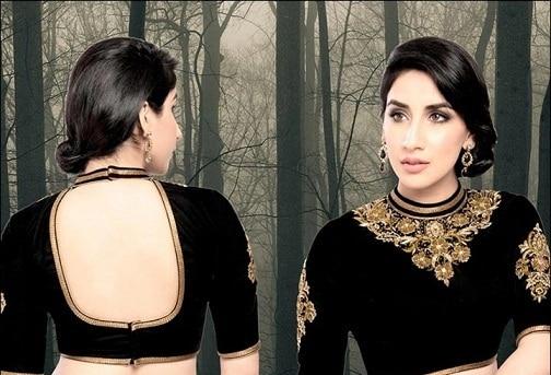 Back Open Black Blouse Design