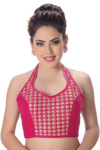 Halter Neck Pink Designer Blouse