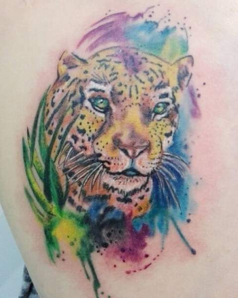 Watercolor Leopard Tattoo Design