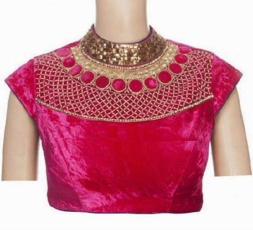 Pink Alluring Neck Designer Blouse