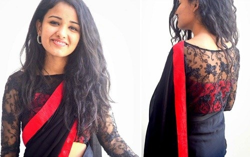 Red and Black Blouse Design