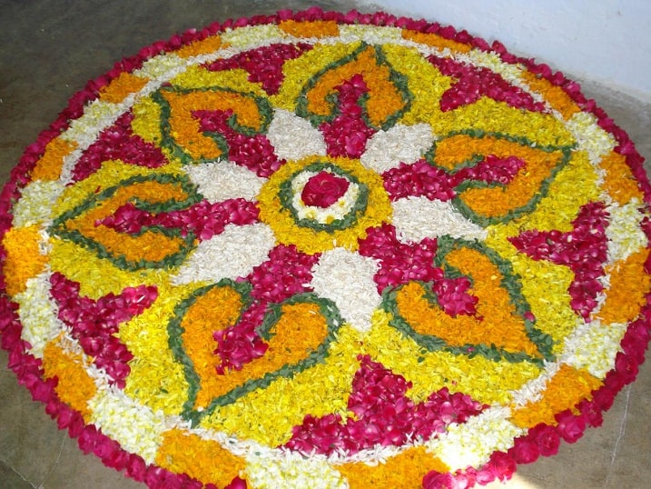 Kolam Rangoli With Flowers