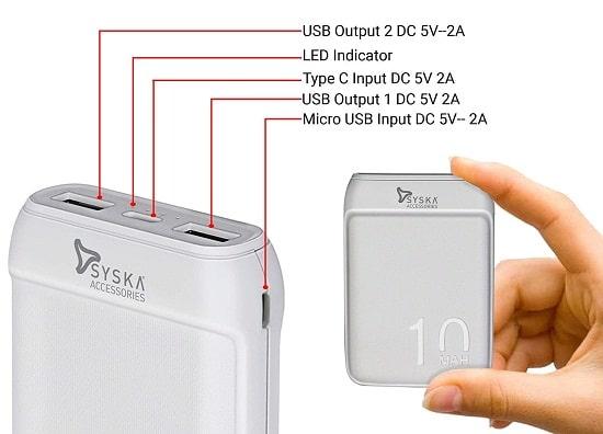 SYSKA 10000mAh Power Bank