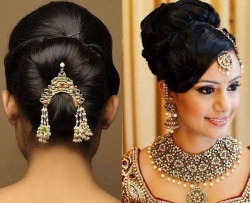 High Bun Hairstyle for Lehenga