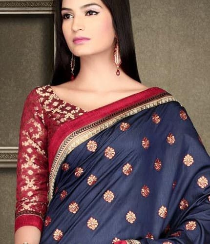Chiffon Blouse Design With Silk Saree