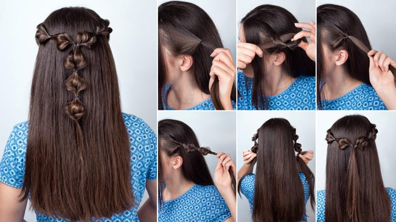 Simple Twisted Bubble Hairstyle