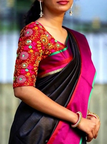 Plain Silk Saree With Designer Blouse