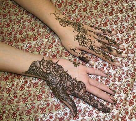 SIDE PALM MEHNDI DESIGNS