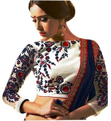 White Silk Blouse With Thread Work Embroidery