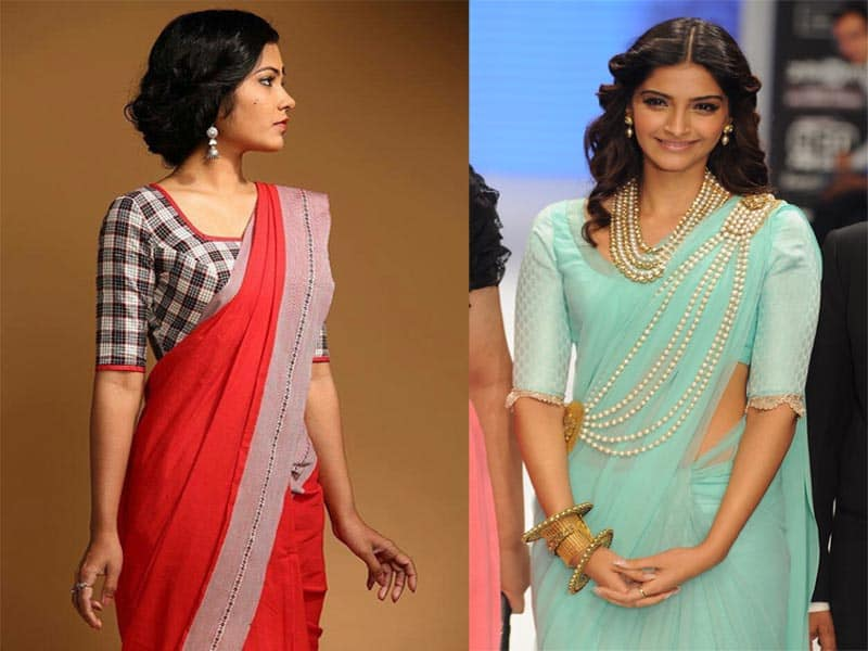 20 Stunning Collection Of Plain Sarees With Designer Blouse Designs