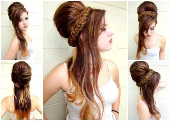 Bouffant and Braid Hairstyle