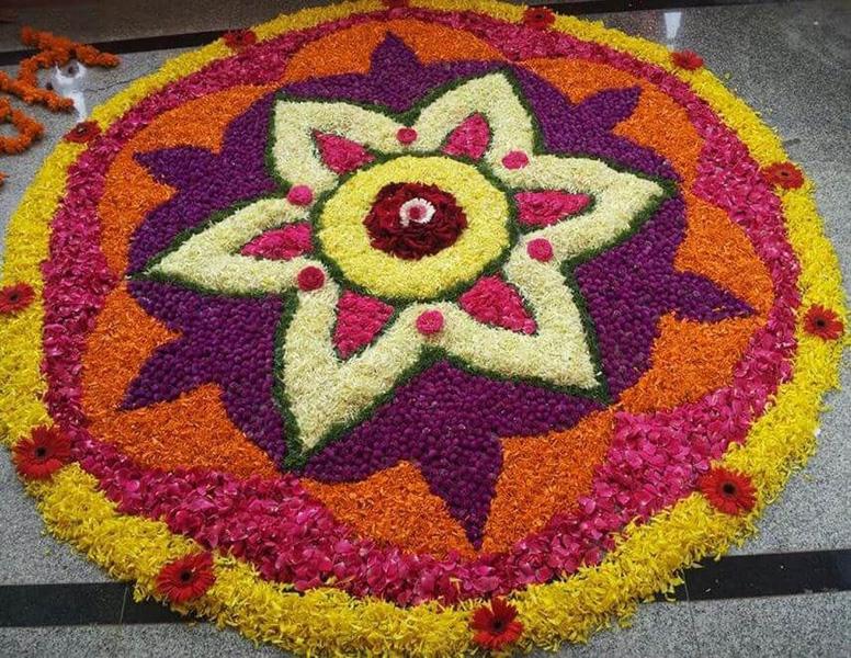 Flower Rangoli Design For Beginners